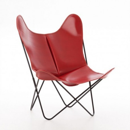 Fauteuil AA cuir lisse rouge