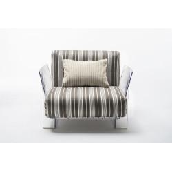 Fauteuil Pop Outdoor / structure transparente / tissus stripes