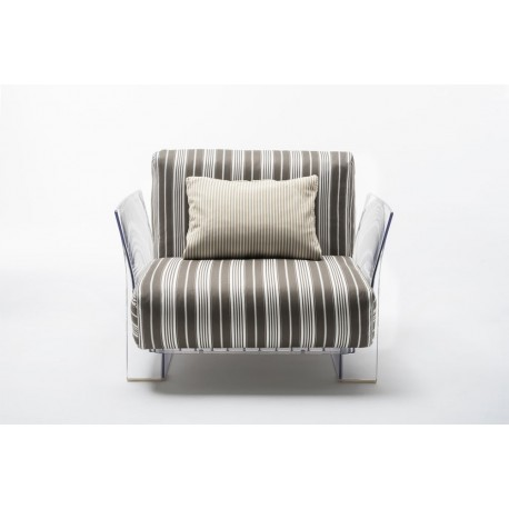 Fauteuil Pop Outdoor / structure transparente / tissus stripes