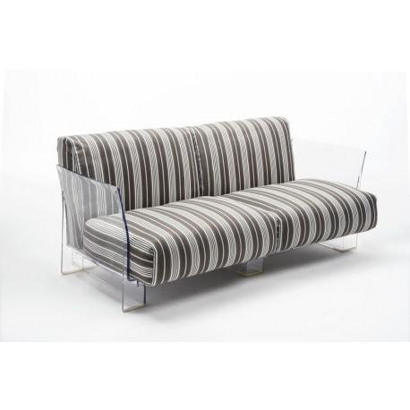 Canapé Pop Outdoor 2 places / structure transparente / tissu stripes