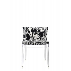 Fauteuil Mademoiselle tissus Moschino / structure transparente