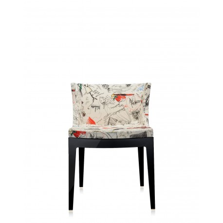 Fauteuil Mademoiselle tissus Moschino / structure noire