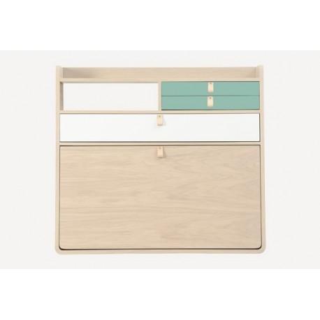 Secrétaire mural GASTON 80cm en chêne - Grand tiroirs blanc