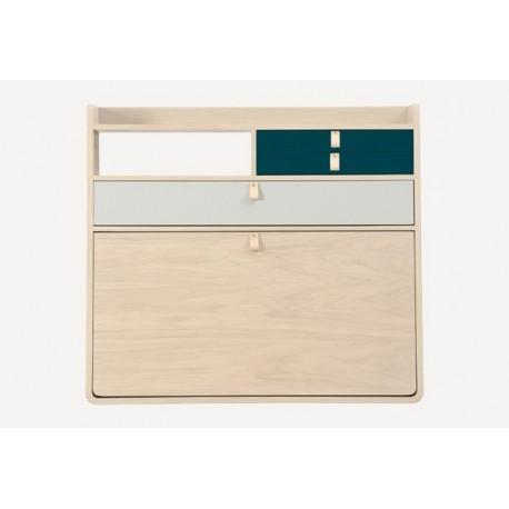 Secrétaire mural GASTON 80cm en chêne - Grand tiroirs gris clair
