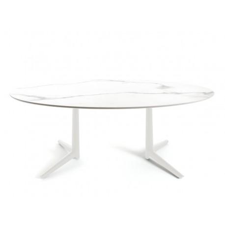 Table Multiple Low / plateau marbre ovale / intérieur