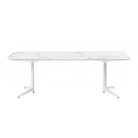 Table Multiplo low / plateau rectangulaire en marbre / intérieur
