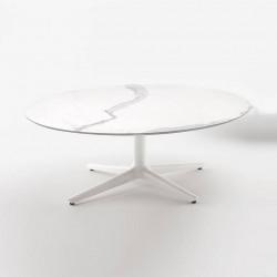 Table Multiplo Low / plateau rond en marbre / intérieur